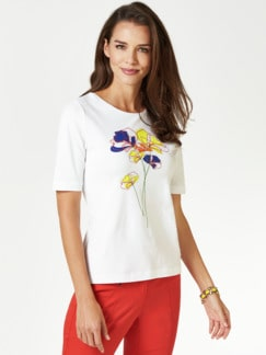 T-Shirt Frühlingsblume Royalblau/Auroragelb Detail 1