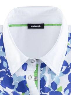 Poloshirt Blütenregen Weiß/Blau Detail 3
