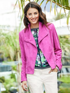 Betty Barclay Velours-Bikerjacke Pink Fuchsia Detail 2