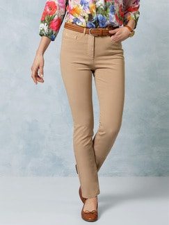 Passform Baumwollhose Slim Fit Caramel Detail 1