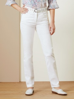 Passform-Jeans Feminine Fit Weiß Detail 1