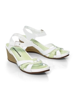 Keilabsatz-Sandalette Limette/Weiß Detail 1