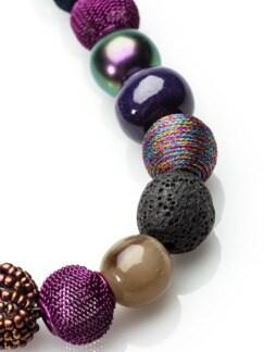 Kugelkette Perlenpotpourri Beere/Grün Detail 3