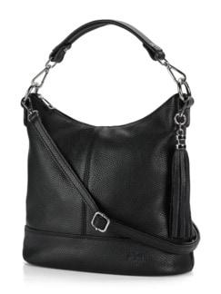 Lederhandtasche Standfest Schwarz Detail 1