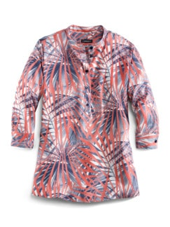 Viskose-Shirtbluse Künstlerdruck Blau/Rot Detail 3