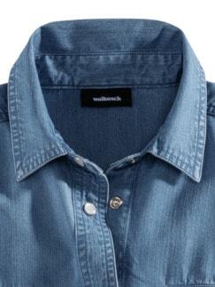 Lyocell-Jeansbluse Extraleicht Hellblau Detail 4