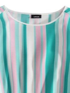 Viskose Shirtbluse Sommerleicht Gestreift lagune Detail 3