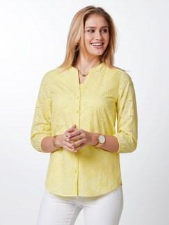Lochstickerei-Bluse Gelb Detail 1