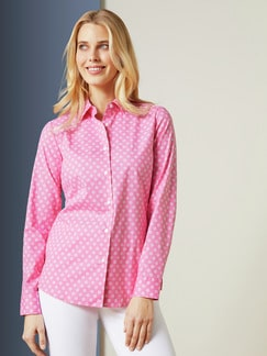Bequem-Hemdbluse Dots Rose Detail 1