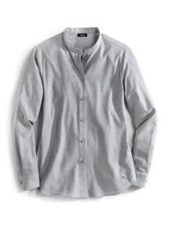 Stretchflanell-Stehkragen-Bluse Grau Melange Detail 2