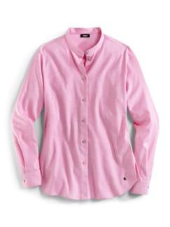 Stretchflanell-Stehkragen-Bluse Rose Melange Detail 2