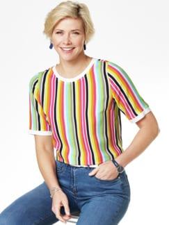 Shirtbluse-Multicolor-Streifen Pink/Grün Detail 1