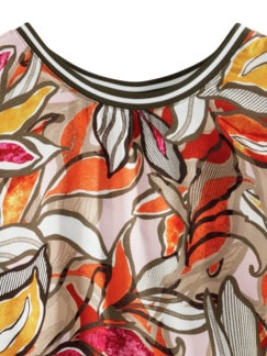 Viskose-Shirtbluse Bella Vita Blumen Kürbis Detail 3