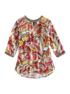 Viskose-Shirtbluse Bella Vita Blumen Kürbis Detail 2