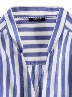 Krempelarm-Bluse Airkondition Streifen Blau Detail 3