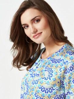Viskose-Shirtbluse Bella Italia Blau Detail 4