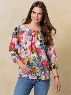 Shirtbluse Sommerblüten Multicolor Detail 1