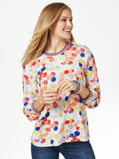 Shirbluse Aquarelltupfen Multicolor Koralle Detail 1