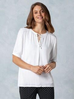 Shirtbluse Materialmix Weiß Shirtbluse Detail 1