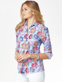 Extraglatt-Hemdbluse-Everyday Blume hellblau Detail 1