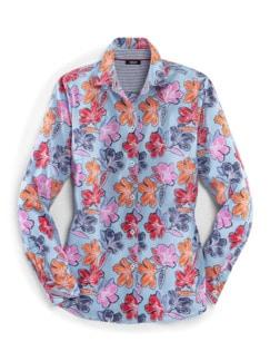 Extraglatt-Hemdbluse-Everyday Blume hellblau Detail 3