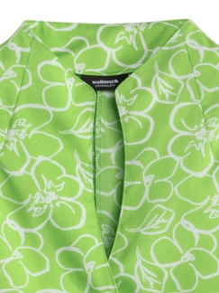 Extraglatt-Bluse Kelchkragen Blume Grün Detail 3