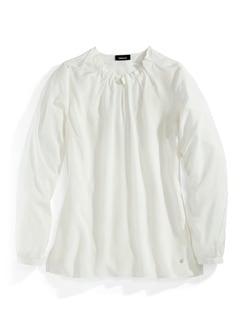 Shirtbluse Falten-Drape Weiß Detail 3