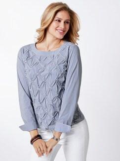 Shirtbluse Rosettenstickerei Blau/Weiß Detail 1