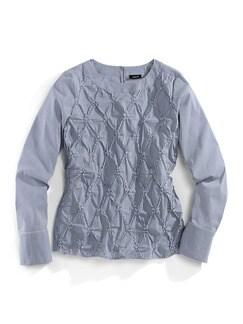 Shirtbluse Rosettenstickerei Blau/Weiß Detail 2