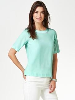 Seiden-Shirtbluse Edel-Basic Aqua Detail 1