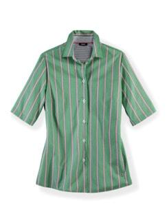 Extraglatt-Hemdbluse-Everyday Streifen Grün Detail 2