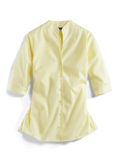 Extraglatt-Bluse Kelchkragen Gelb Detail 2