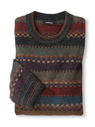 Alpaka Rundhals-Pullover Herbstlaub