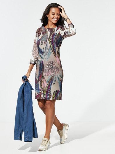 Jerseykleid Blätterprint