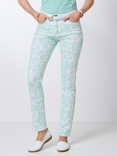 Powerstretch-Jeans Palmenprint