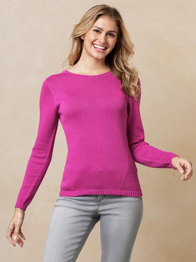 Baumwoll Pullover fuchsia