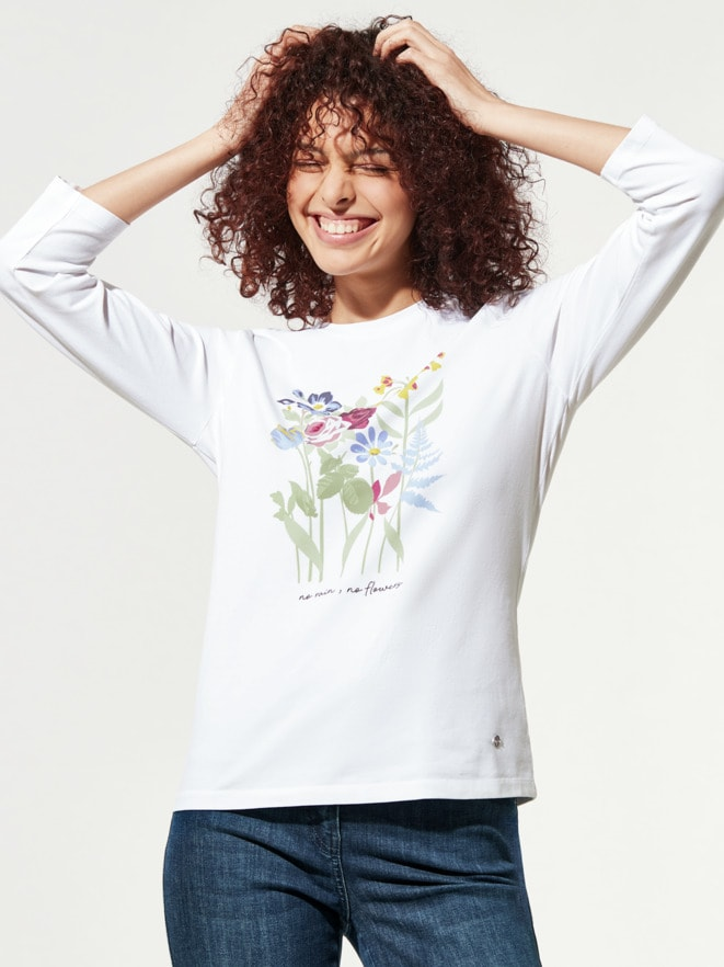 Baumwoll-Shirt Aquarellblumen
