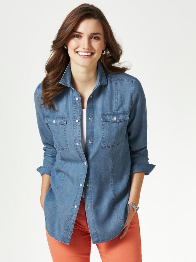 Tencel Jeansbluse Extraleicht