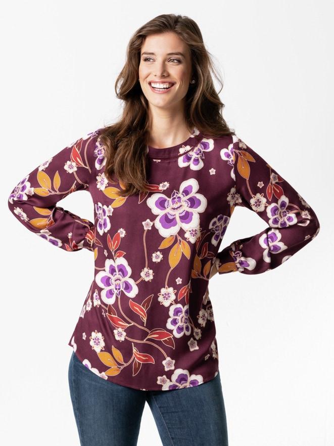 Viskose-Shirtbluse Herbstblüten