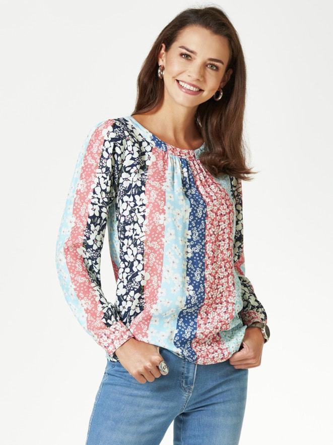 Shirtbluse Millefleurs-Streifen